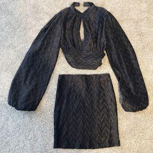 Akira Chicago two piece black chevron crepe dress
